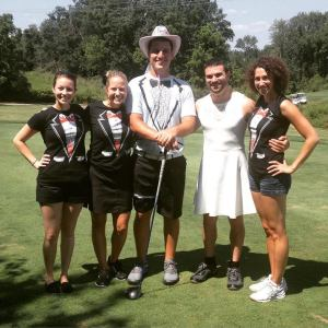 Pre-wedding golf tournament!  The bride and groom with the best man and the Ms. and Mrs. of honor